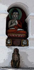 nepal Kathmandu 32a Swayambunath Monkey filter2